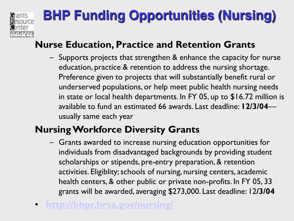 BHP Funding Opportunities (Nursing)