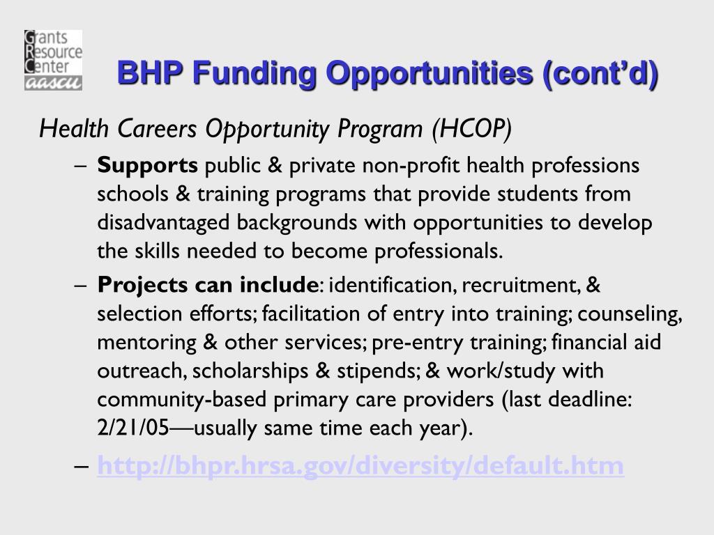 BHP Funding Opportunities (cont'd)