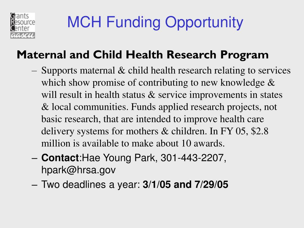 MCH Funding Opportunity