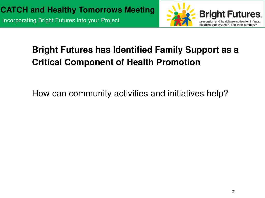 Bright Futures has Identified Family Support as a Critical Component of Health Promotion