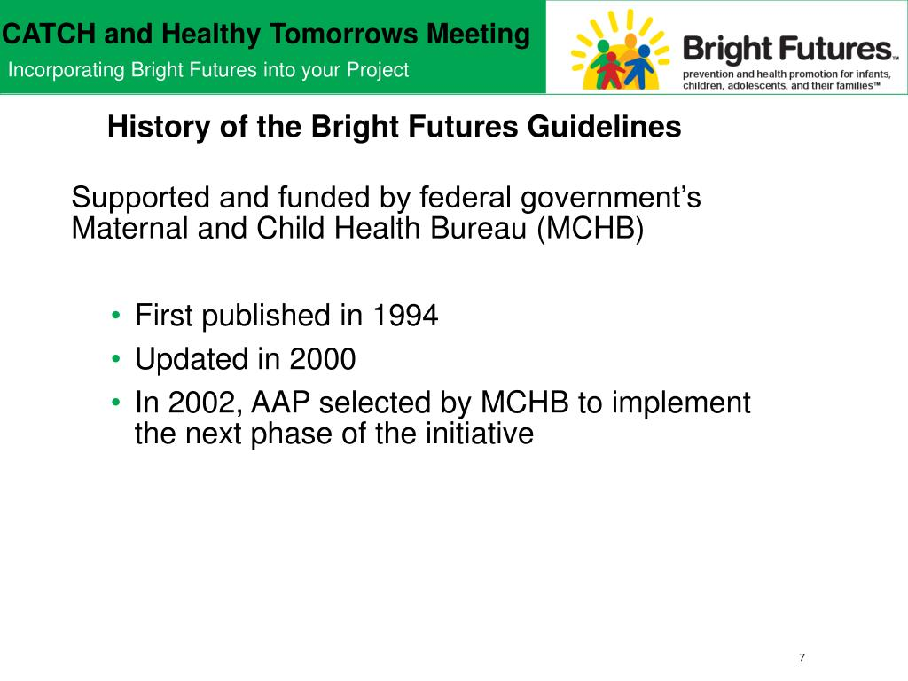 History of the Bright Futures Guidelines
