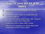 steps to carry out sa at iu cont d