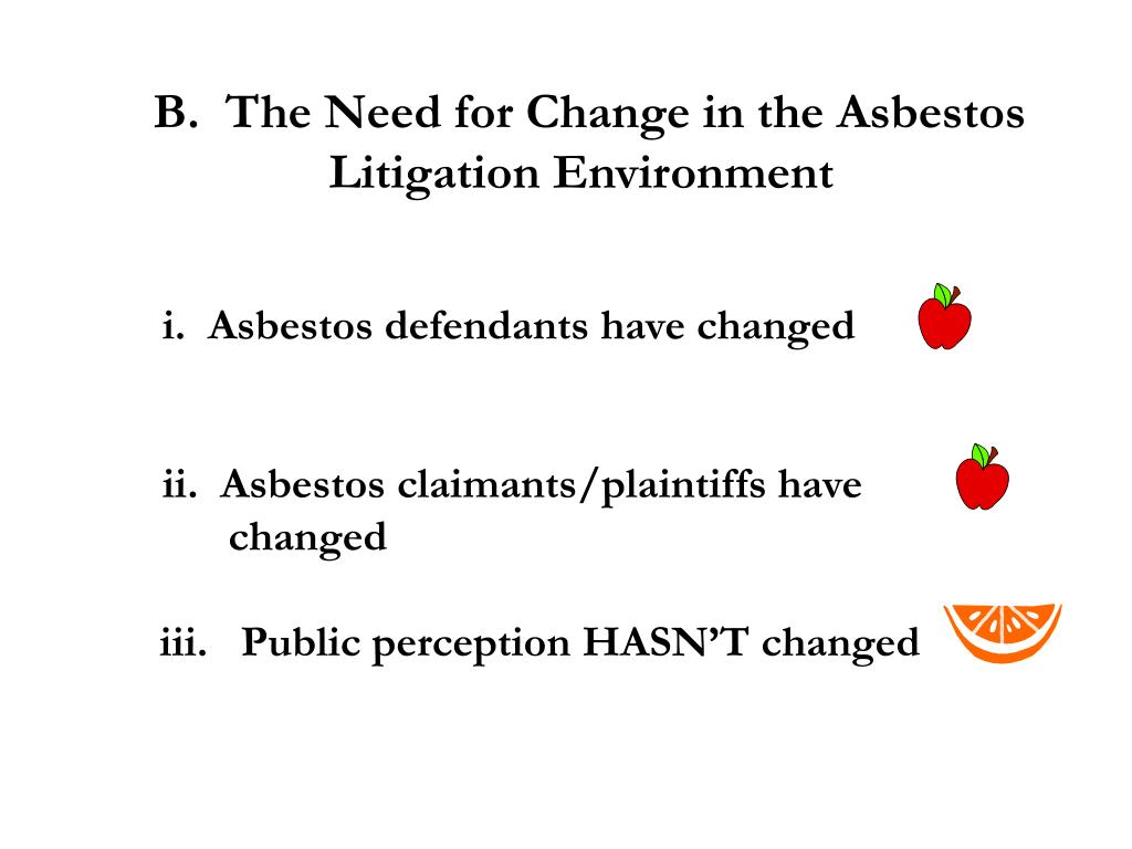 B.  The Need for Change in the Asbestos