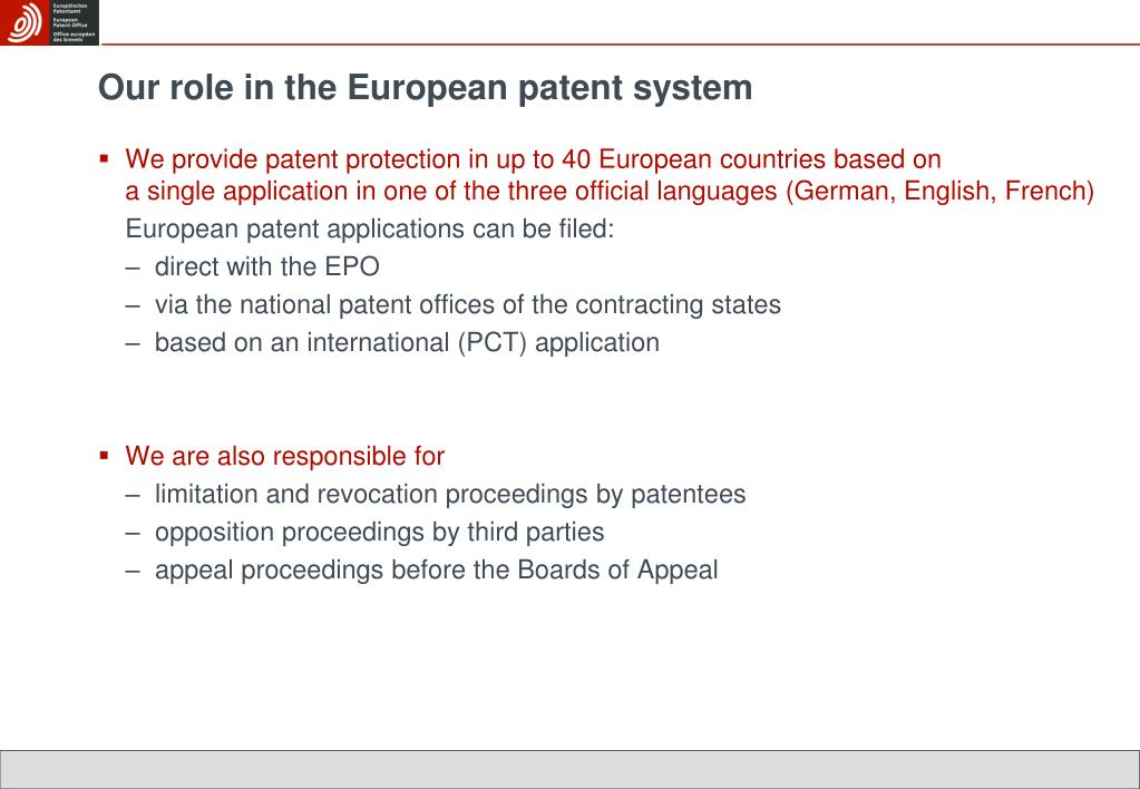 Our role in the European patent system