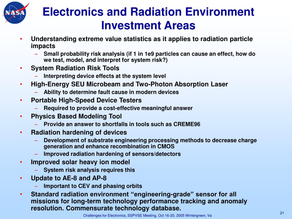 Electronics and Radiation Environment Investment Areas