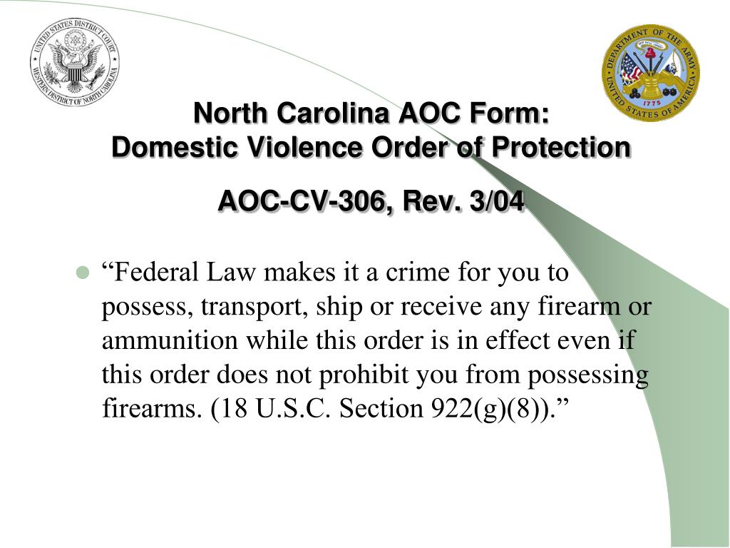 North Carolina AOC Form:
