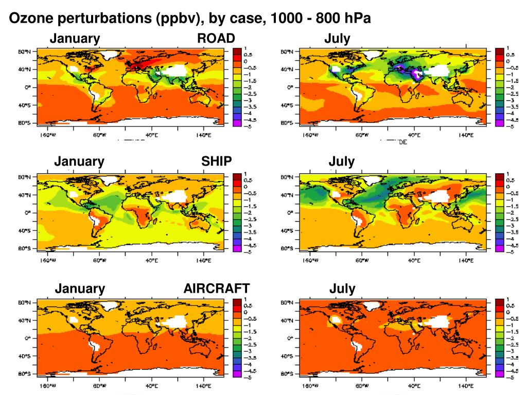 Ozone perturbations (ppbv), by case, 1000 - 800 hPa