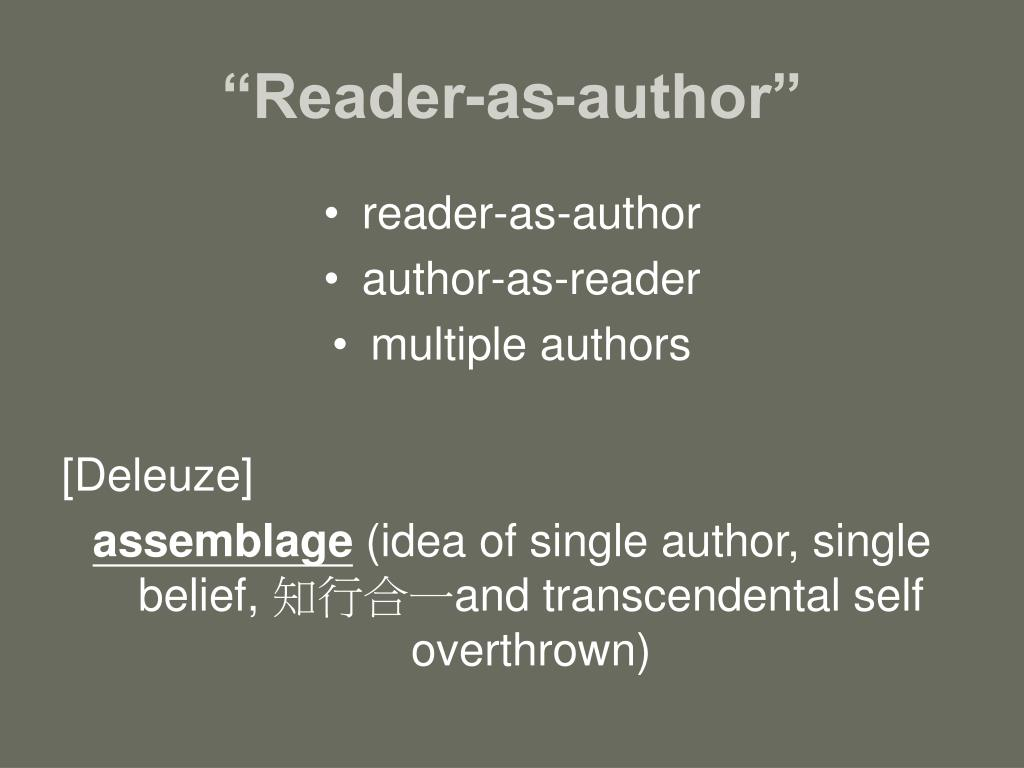 """Reader-as-author"""