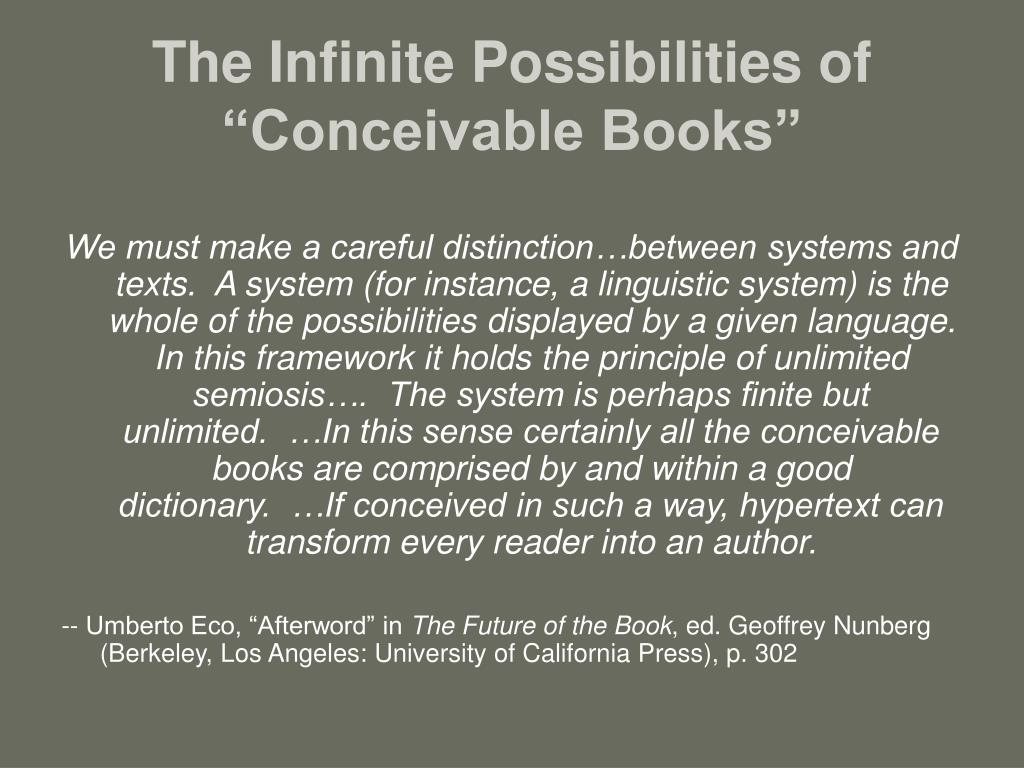 "The Infinite Possibilities of ""Conceivable Books"""