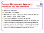 content management approach promises and requirements