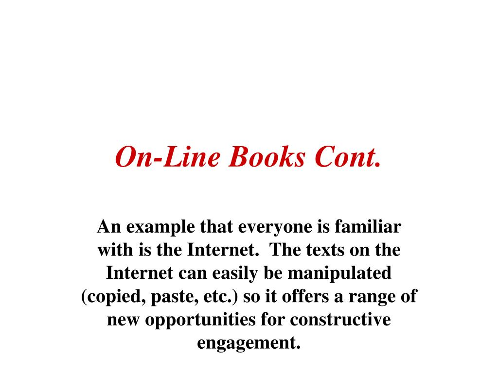 On-Line Books Cont.