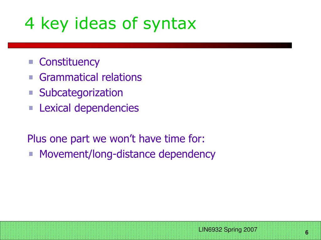 4 key ideas of syntax