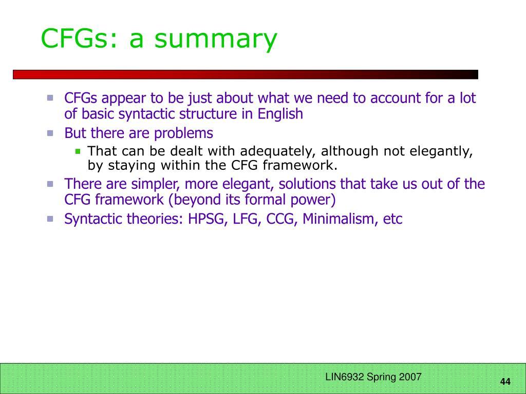 CFGs: a summary