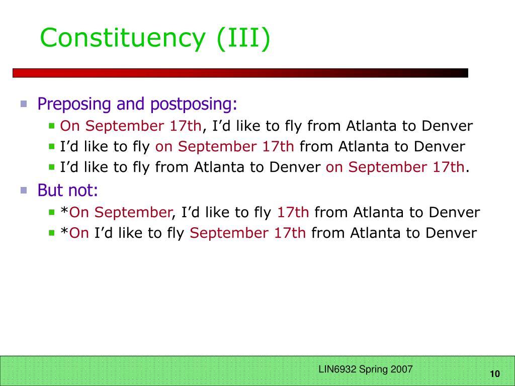 Constituency (III)