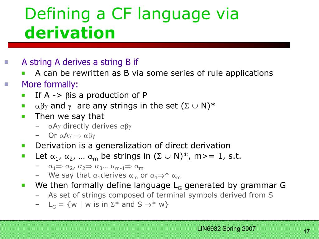 Defining a CF language via