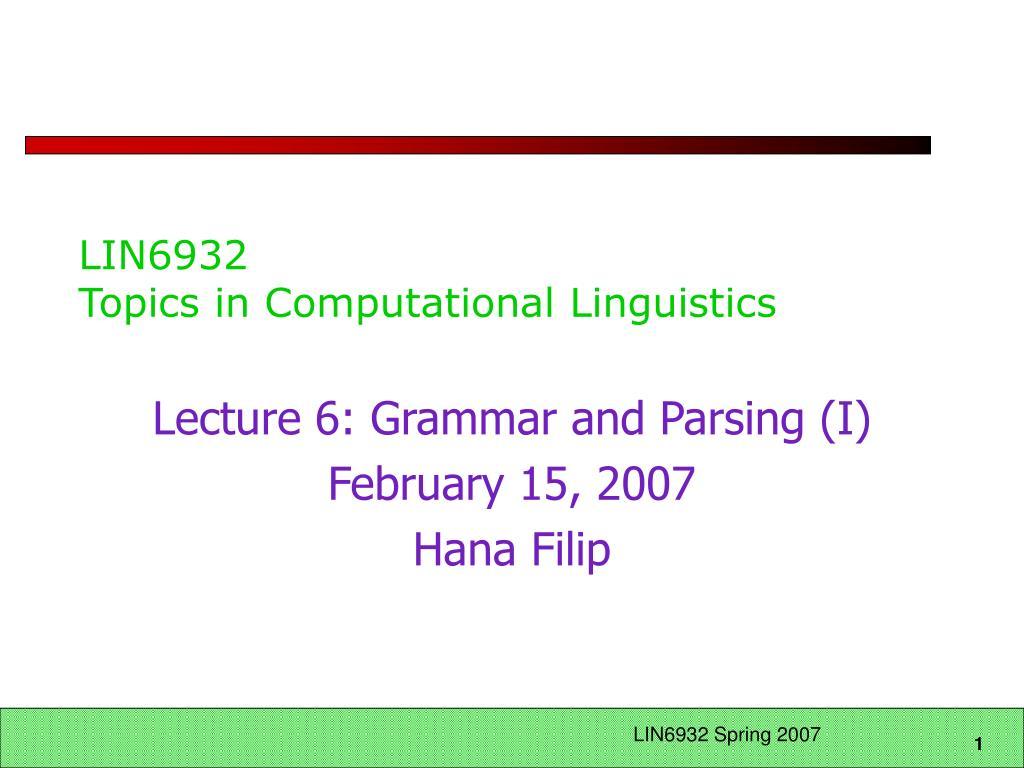 lin6932 topics in computational linguistics