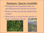 summary species available