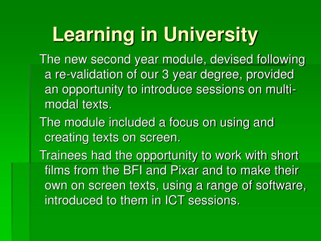 Learning in University