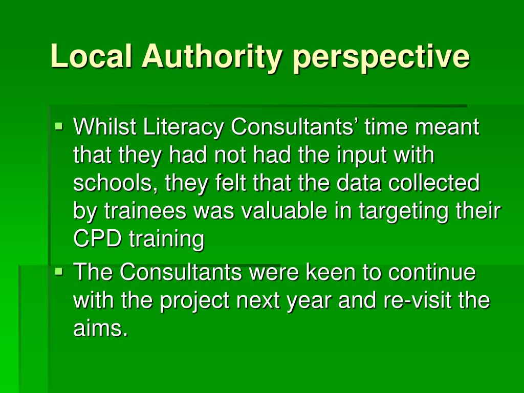 Local Authority perspective