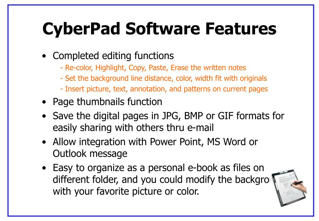CyberPad Software Features