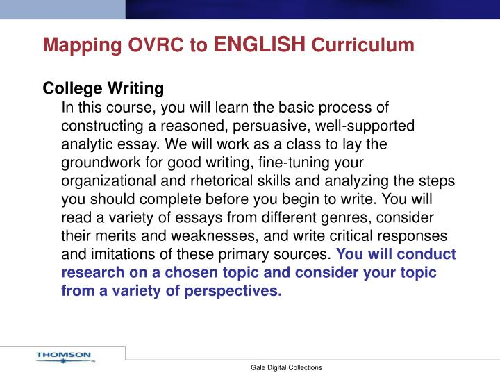 Mapping ovrc to english curriculum