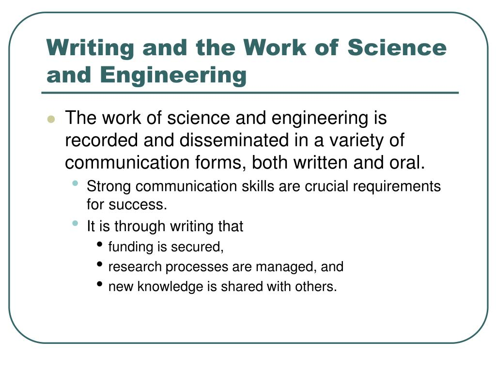 Writing and the Work of Science and Engineering