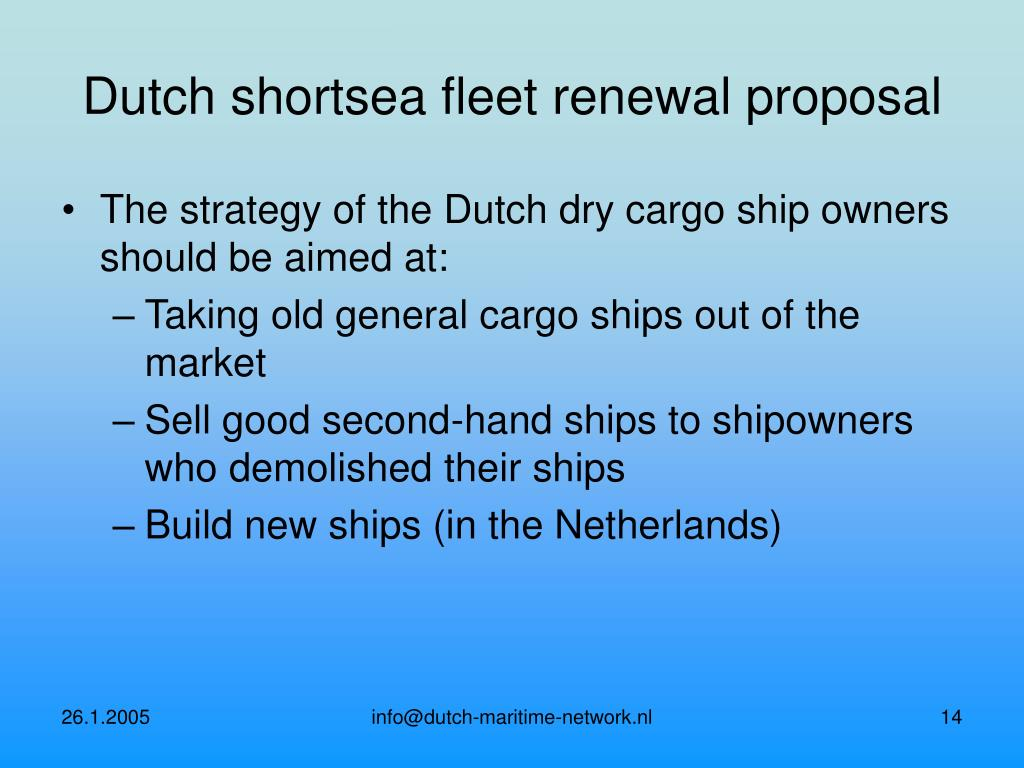 Dutch shortsea fleet renewal proposal