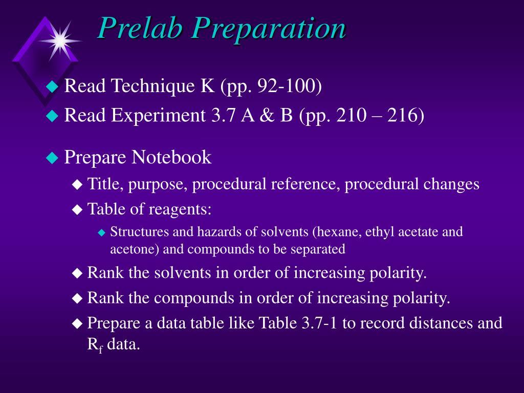 Prelab Preparation
