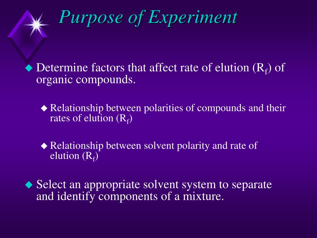 Purpose of Experiment
