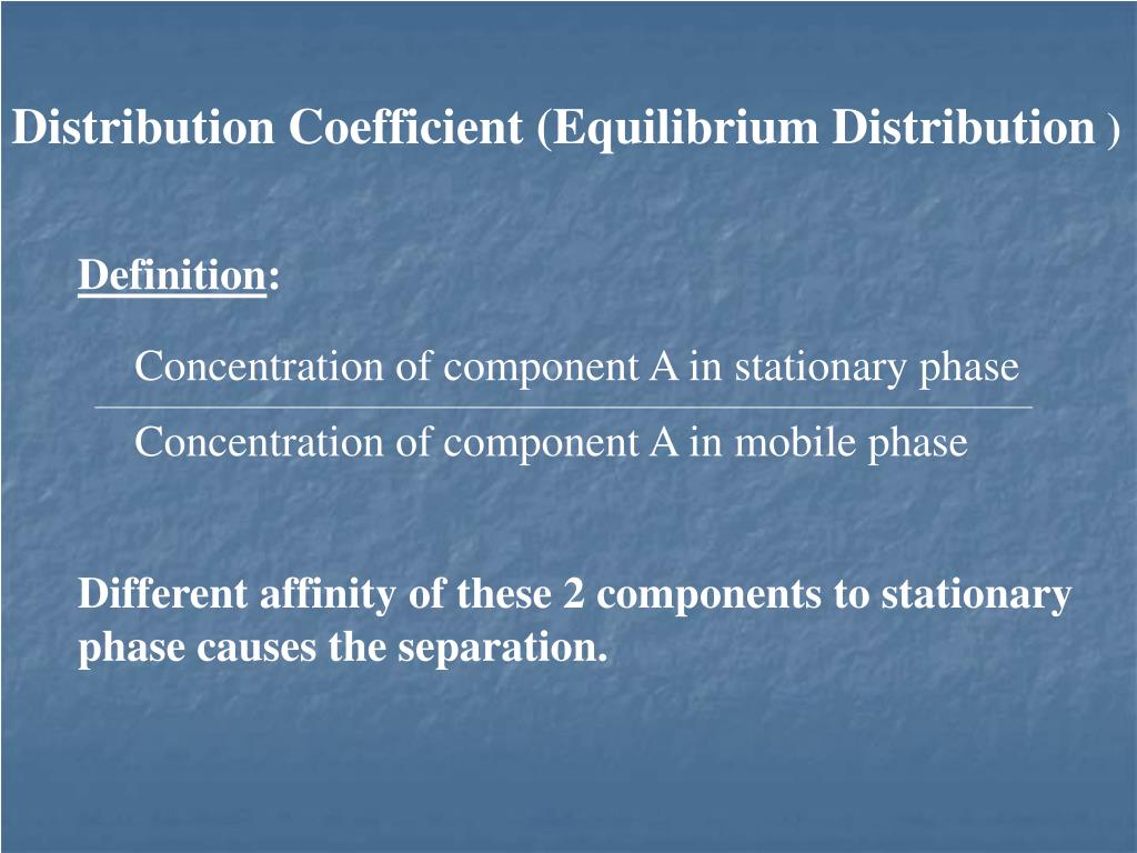 Distribution Coefficient (Equilibrium Distribution