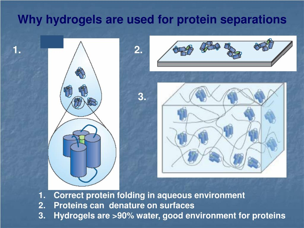 Why hydrogels are used for protein separations