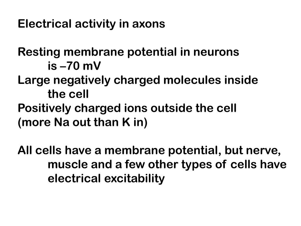 Electrical activity in axons