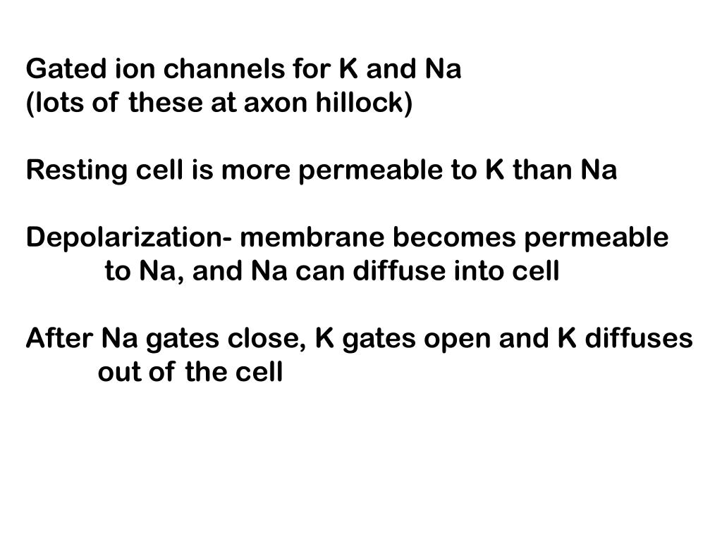 Gated ion channels for K and Na
