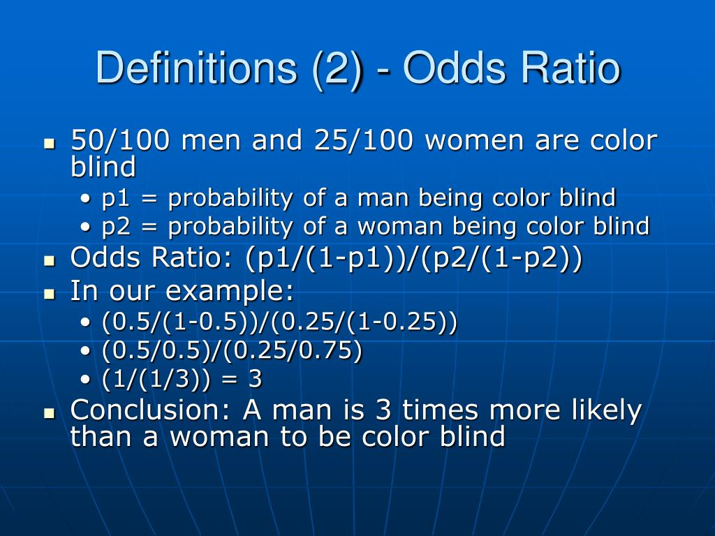Definitions (2) - Odds Ratio