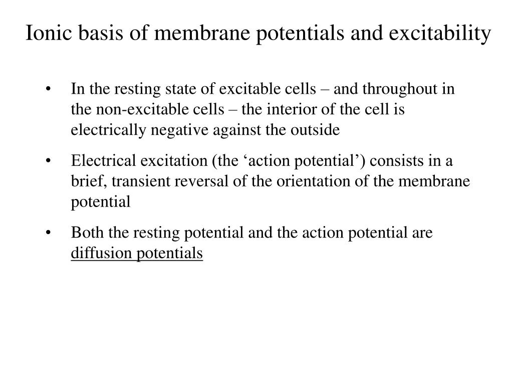 Ionic basis of membrane potentials and excitability