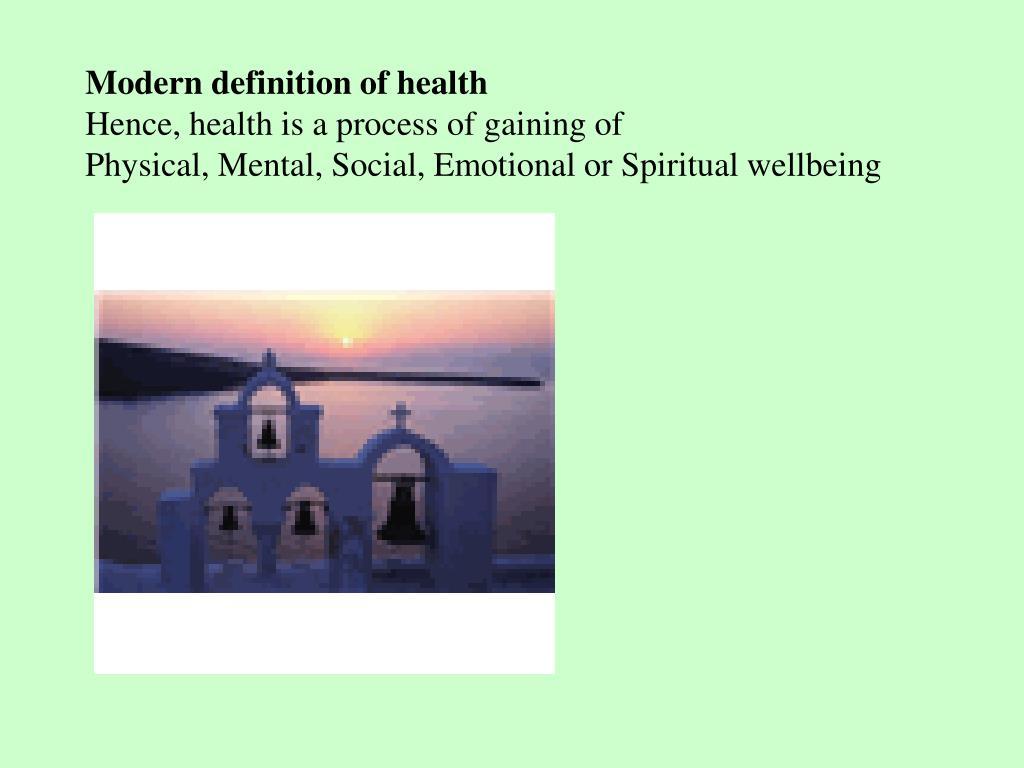 Modern definition of health