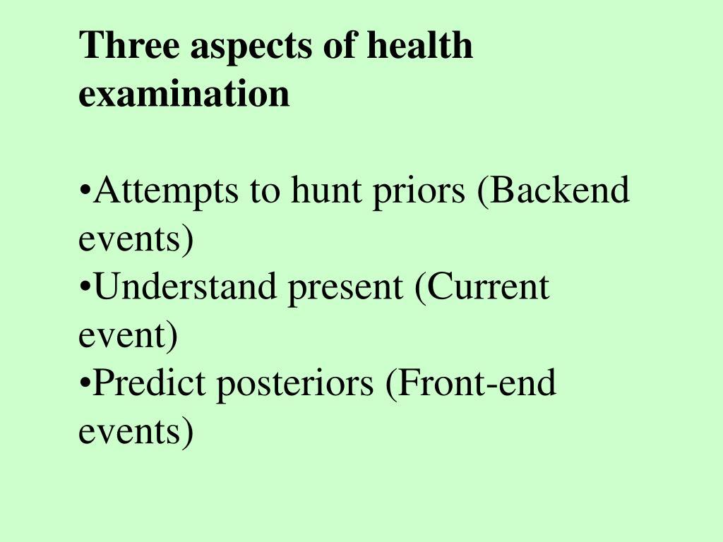 Three aspects of health examination