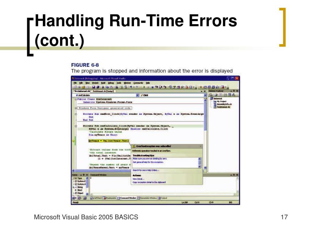 Handling Run-Time Errors (cont.)