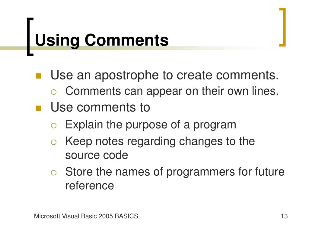 Using Comments