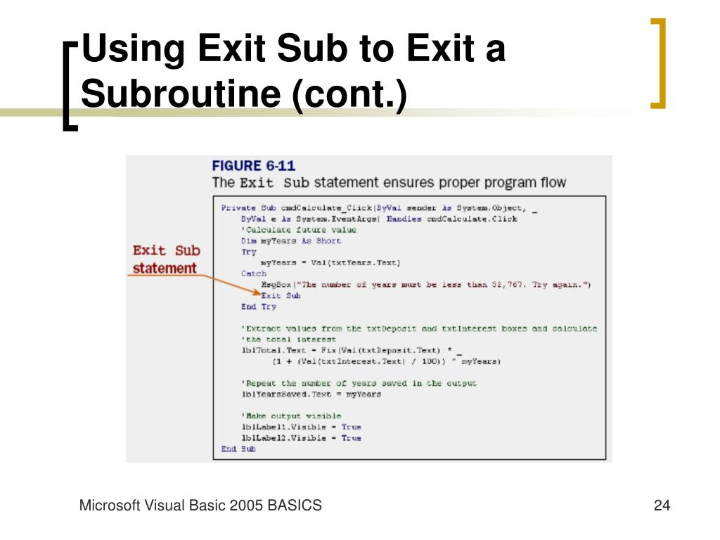 Using Exit Sub to Exit a Subroutine (cont.)