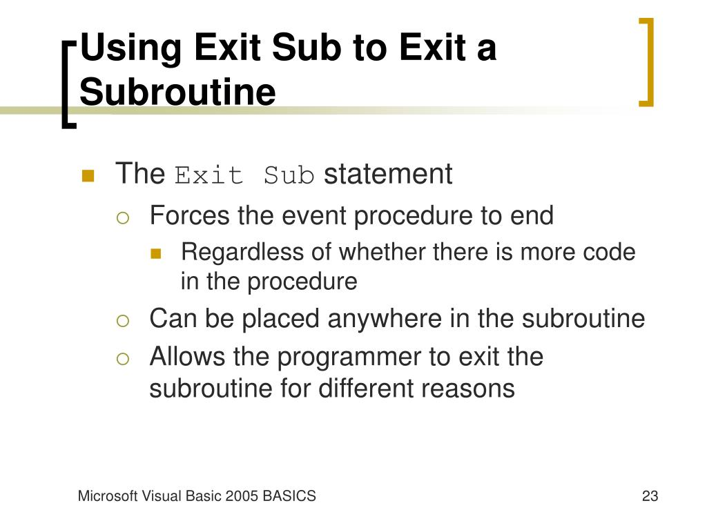Using Exit Sub to Exit a Subroutine