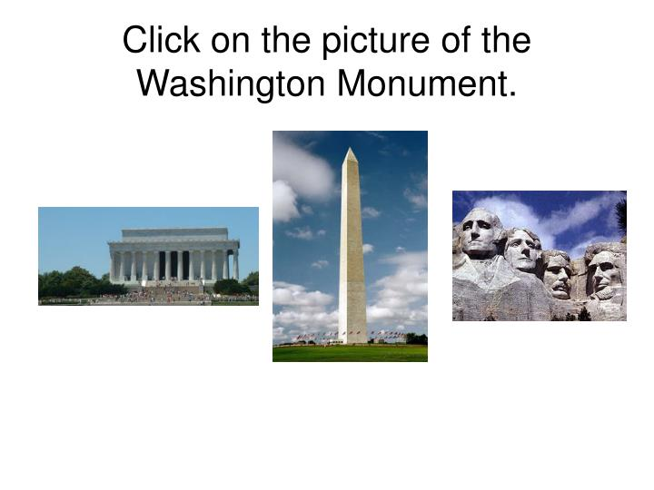 Click on the picture of the washington monument