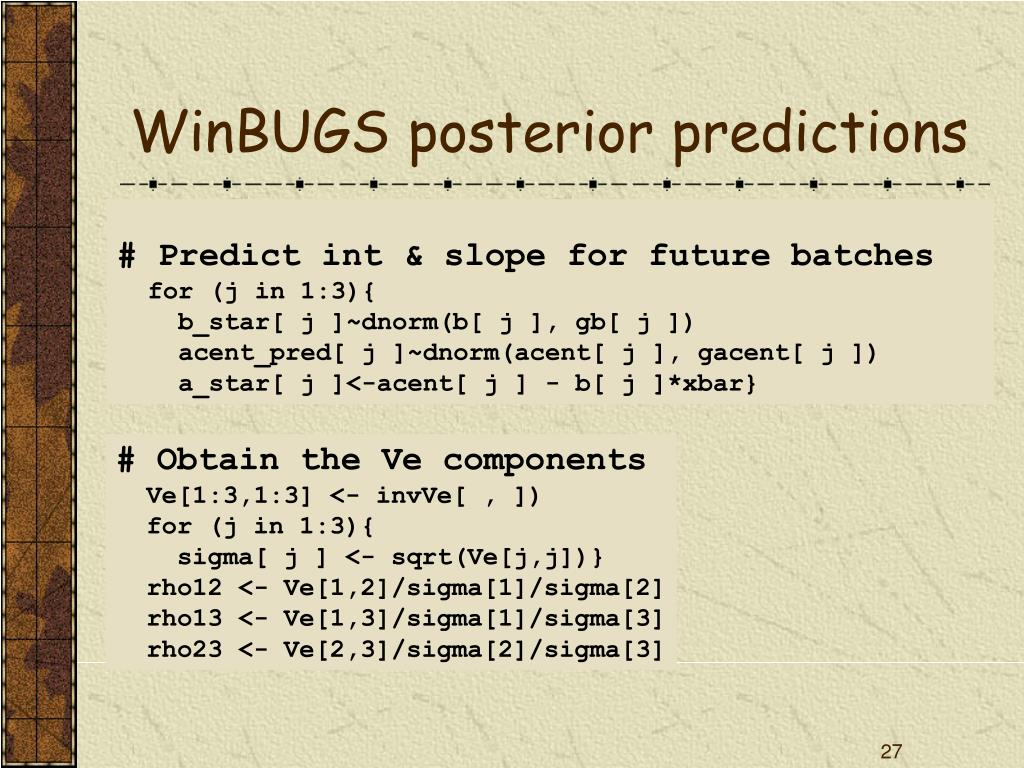 WinBUGS posterior predictions
