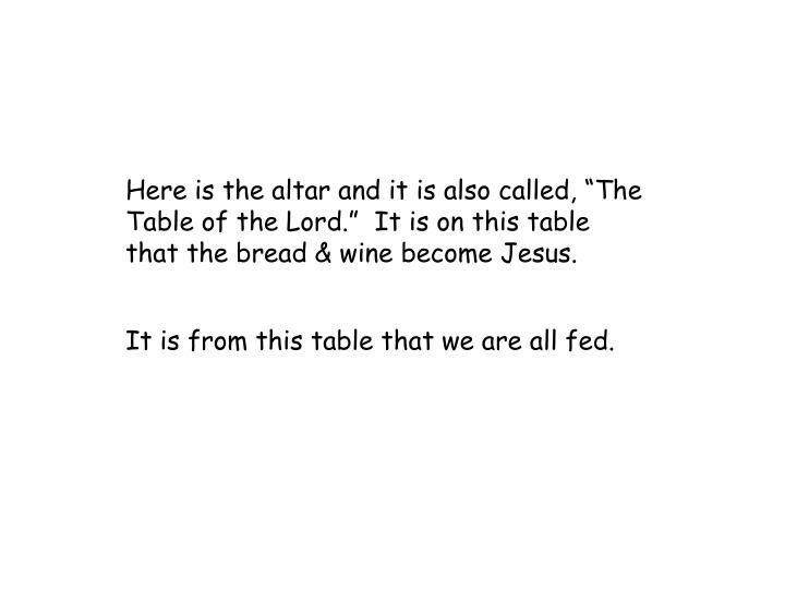 "Here is the altar and it is also called, ""The Table of the Lord.""  It is on this table that the bread & wine become Jesus."