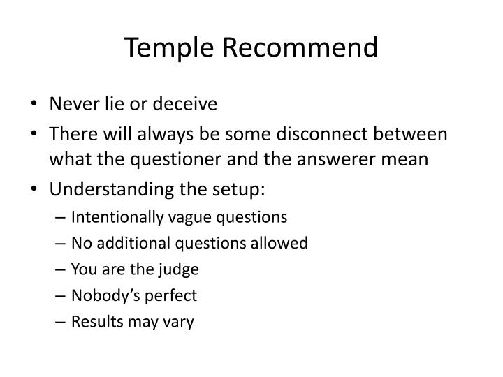 Temple Recommend