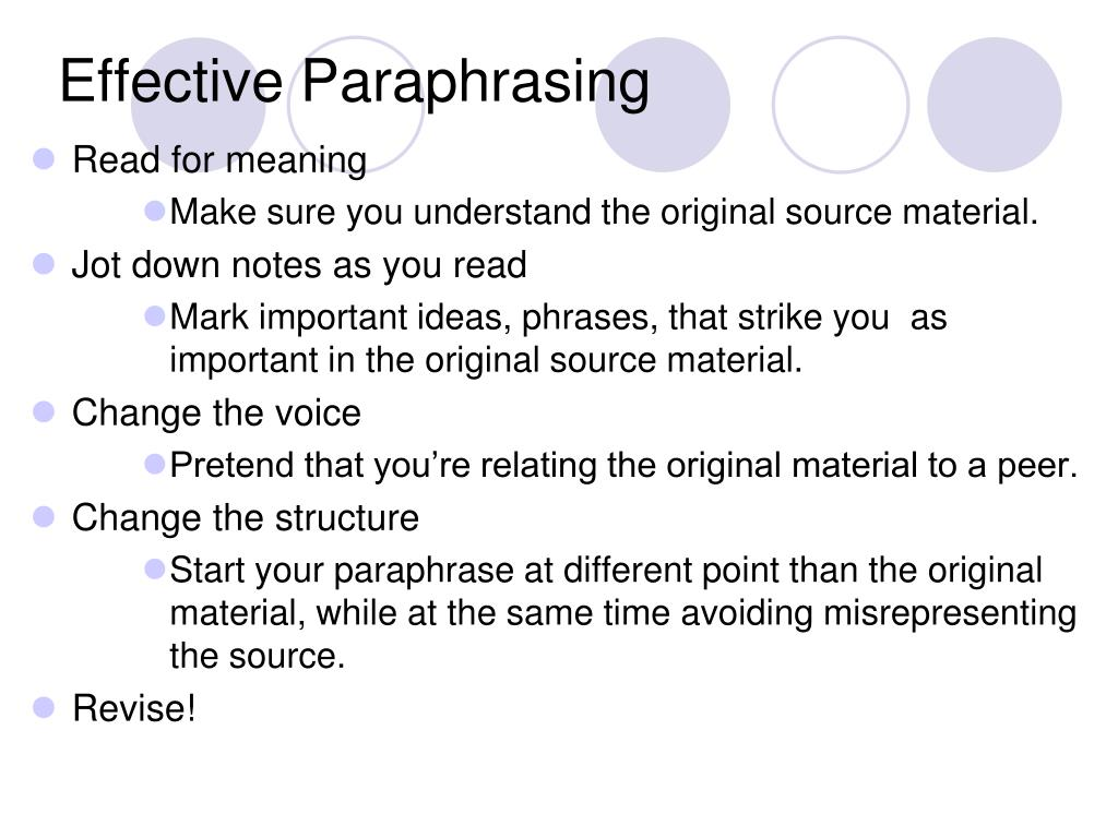 Effective Paraphrasing