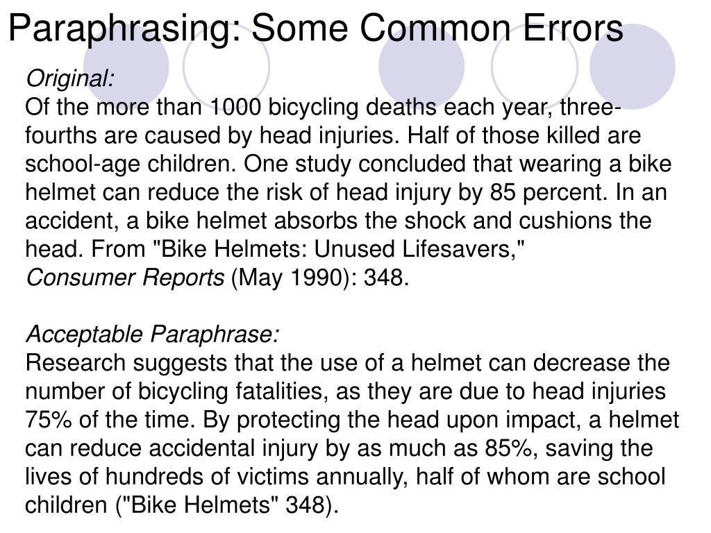 Paraphrasing: Some Common Errors