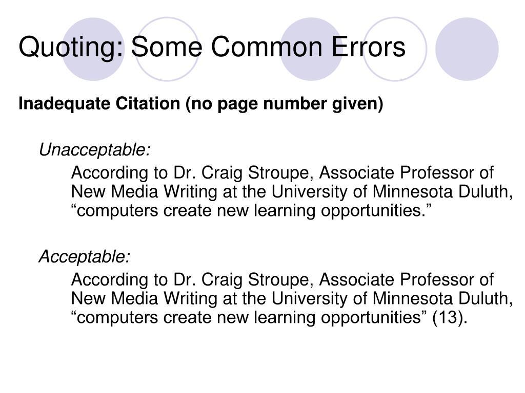 Quoting: Some Common Errors