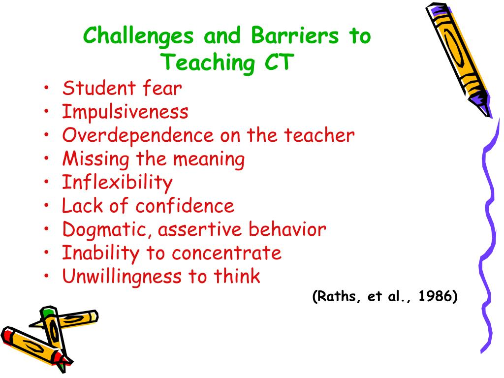 Challenges and Barriers to Teaching CT
