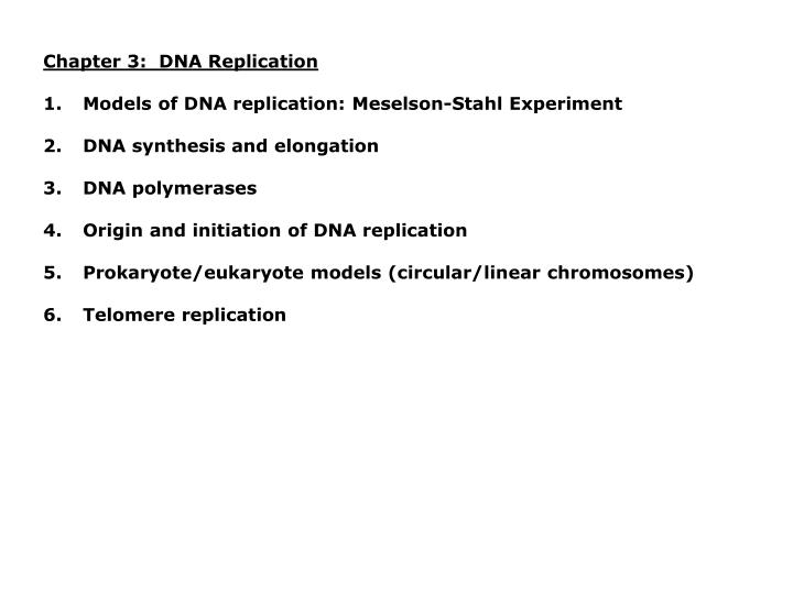 Chapter 3:  DNA Replication